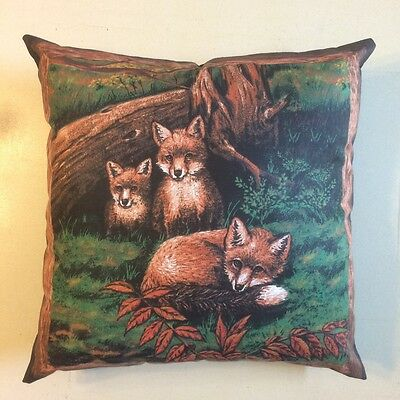 Amazing New 15 X 15  Fox Cubs Animal Wildlife Theme Complete Pillow - Pictorial