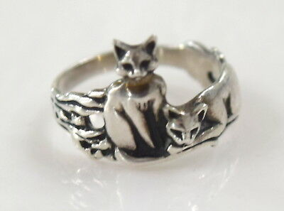 Retired  Sterling Silver 925 Two Cats Ring   sz 6   3.2 g