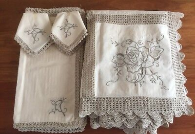NEW Vintage Italian Cotton Embroidered Lace Tablecloth Matching Napkins 200x160