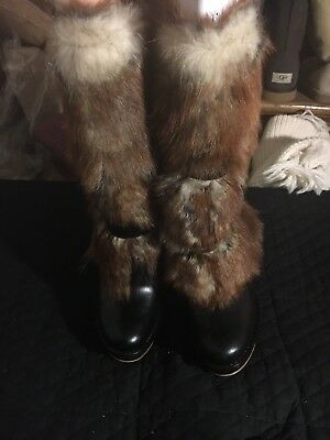 8c4d34d9226 Ugg Foxley black leather brown shearling sheep skin Toscana fur heel Yeti  Boots.