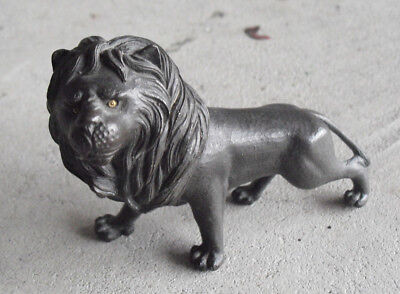 """Antique Signed Bronze Lion Figurine 3 1/4"""" Tall Look"""