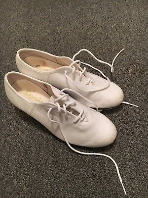 SANSHA Womens White Leather Lace Up Tap Dancing Shoes Size 7. Fits 6-6.5