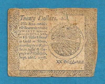 1778 $20 Continental Currency Very Fine Grade Large Denomination Note