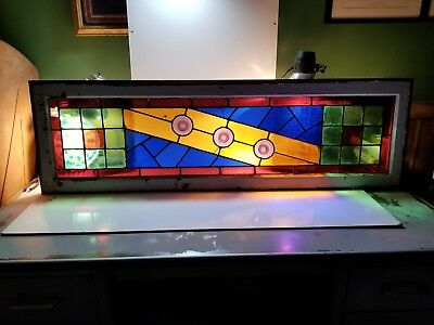 """~ Antique Stained Glass Transom Window ~ 54""""  X 16 1/4"""" ~ Architectural Salvage"""