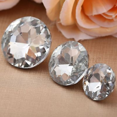 20/25/30mm Glass+Metal Crystal Upholstery Nail Tack Stud Sewing Buttons 10Pcs