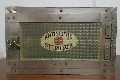 Vintage Deco Wooden Glass Countertop Antiseptic Sterilizer Barber Dentist Doctor