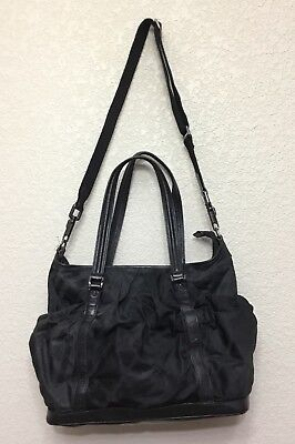84ad8fb93a01 BURBERRY BLACK TONAL Nylon Leather Diaper Bag Tote Convertible Bag ...