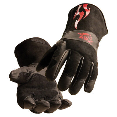 BSX® Stick MIG Welding Gloves Black with Red Flames Size LGE Free Shipping Aust