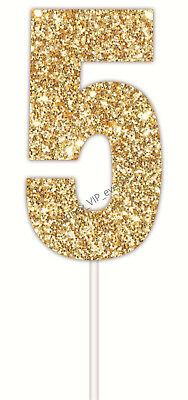 CAKE TOPPER NUMBER GLITTER GOLD 5 PARTY SIGN BIRTHDAY DECOR 5th 25th 15th 50th