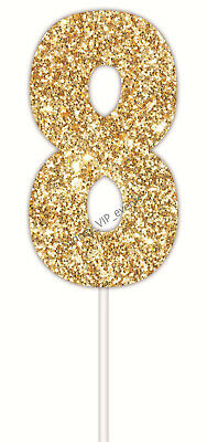 CAKE TOPPER NUMBER GLITTER GOLD 8 PARTY SIGN BIRTHDAY SUPPLIES 8th 18th  80th