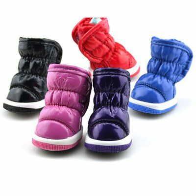 UK 4pcs Pet Dog PU Leather Snowboot Winter Warm Shoes Anti-slip Waterproof Sock