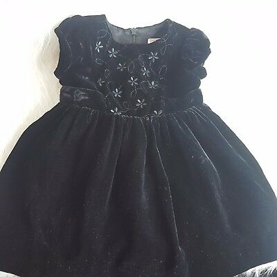 Gymboree 3-6 months Black Velvet Bow tie Dress Formal Holiday Special Occasion