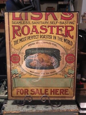 Rare Early 1900s Lisks Roasters Cardboard Store Sign- Rare