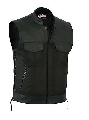 New Mens Codura Biker Waistcoat/Vest Black Real Leather Trim Side Laced Up