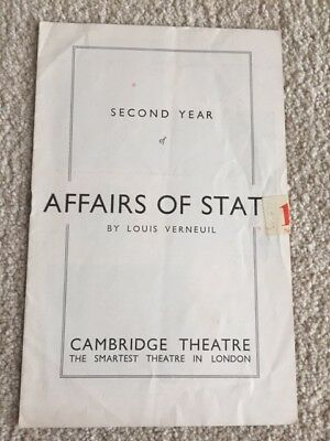 Cambridge Theatre Coral Browne / Hugh Williams in Affairs of State Programme