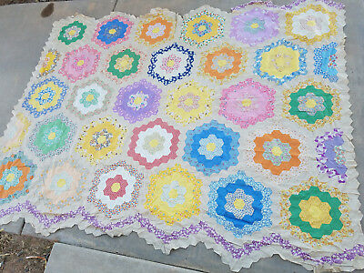 """Antique* 1920's grandmothers flower garden quilt top* New* unfinished* 91"""" x 72"""""""