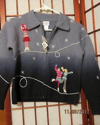 """Talbots- """"kids' Wool Sweater Holiday/iceskating/winter Theme- New W/ Tags Size 8"""