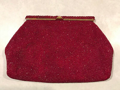 Josef Made in France Antique Red Beaded Purse