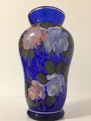 Handcrafted Hand Painted Glass Vase Cobalt Color 25 Cm