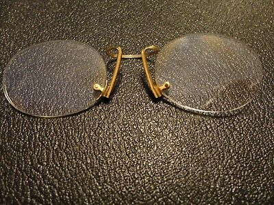 Vintage Nose Pinch Rimless Spectacles, yellow metal with original case