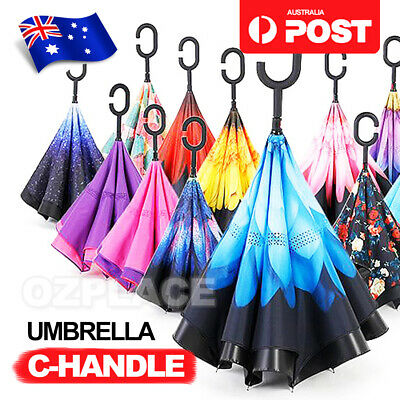C-handle Reverse-Design Windproof Double Layer Upside Down Inverted Umbrella AU