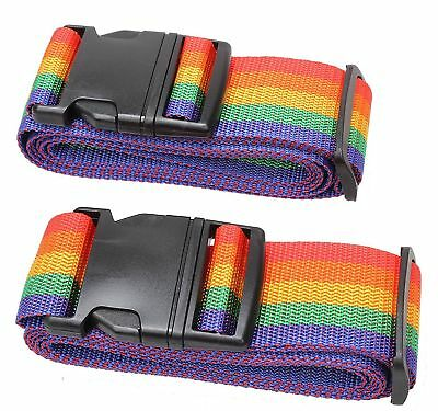 New 2 Travel Luggage Suitcase Strap Baggage Backpack Bag Rainbow Color Belt