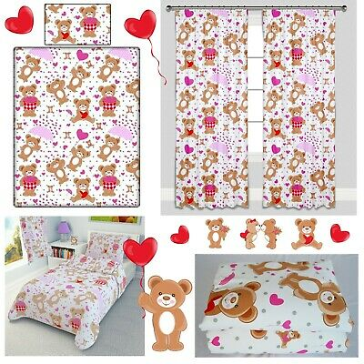 PINK HEART TEDDIES Bedding Set Duvet Covers for Cot/Cot bed/Toddler/Junior