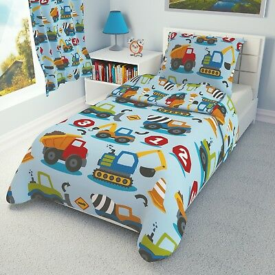 CONSTRUCTION VEHICLES Bedding Set Duvet Covers for Cot/Cot bed/Toddler/Junior