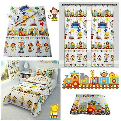 CIRCUS TRAIN Baby Bedding Set Duvet Covers Curtains Cot Bed Toddler 100% COTTON