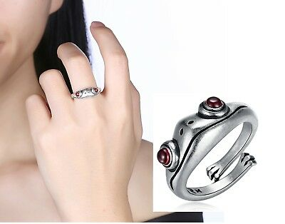 Animal Frog Ring Retro Vintage Fine 925 Sterling Silver Clear Zircon Antique