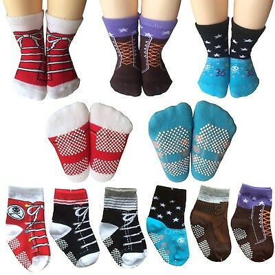 6 Pairs Toddler Non Skid Ankle Cotton Socks Kids Baby Boy Girl Anti-Slip Crew...