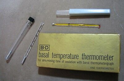 Vintage Glass Basal Thermometers lot of two with box and cases B-D