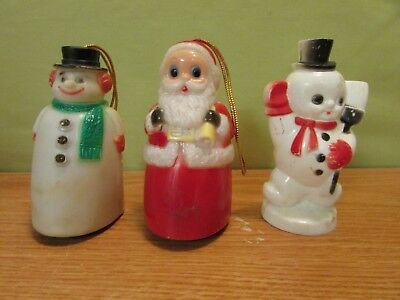 A Set Of Three Vintage Christmas Tree Ornament Two Snowman And One Santa Claus