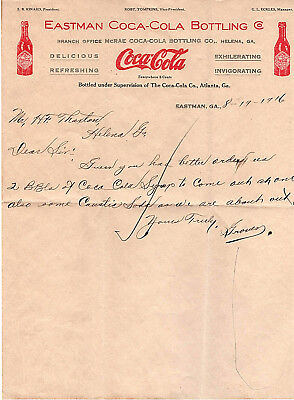8/19/1916 Eastman COCA-COLA BOTTLING CO.Letterhead request to order 2 BBLs syrup