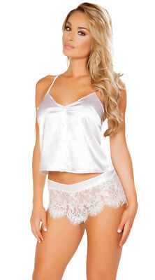 Roma Elegant Satin & Eyelash Lace Pajama Set Lingerie LI225 ~ Black or White