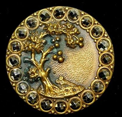 ANTIQUE BUTTON Tree & Grass SHINY Gold Faceted Cut STEELS NBS Large