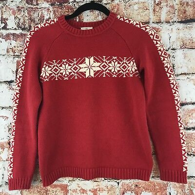 Hannah Andersson 140 Red Christmas Sweater Snowflake Nordic Holiday