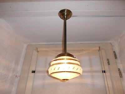 French antique c.1930 Art Deco ceiling light nicely  frosted glass shade