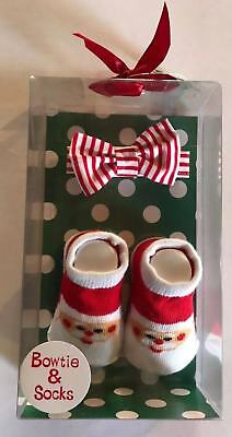 Christmas Infant Gift Set-Boys Santa Socks & Bow tie - 0 - 6 months