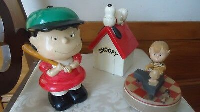 Vintage 1968 ANRI ITALY SCHROEDER Music Box PEANUTS  & LUCY Bank + SNOOPY Bank !