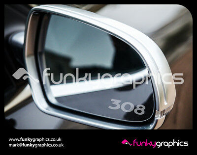 PEUGEOT 308 LOGO MIRROR DECALS STICKERS GRAPHICS x3 IN SILVER ETCH VINYL