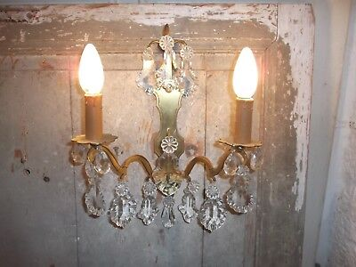 French  bronze single wall light sconce beautiful crystal antique