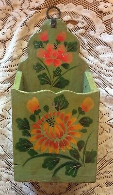 Decorated painted floral Wood Wall Pocket Letter Mail Holder match candle box #1