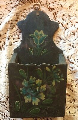 Decorated painted floral Wood Wall Pocket Letter Mail Holder match candle box #2