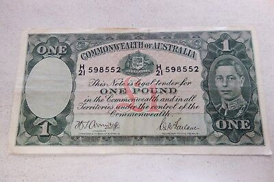 Vintage Common Wealth of Australia One pound Banknote