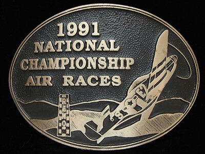Oi15142 *nos* Vintage 1991 *national Championship Air Races* Solid Brass Buckle