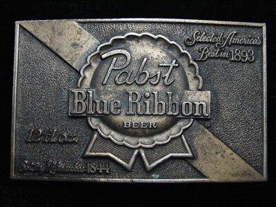 QE11158 VINTAGE 1970s **PABST BLUE RIBBON** BEER BREWING COMPANY BELT BUCKLE