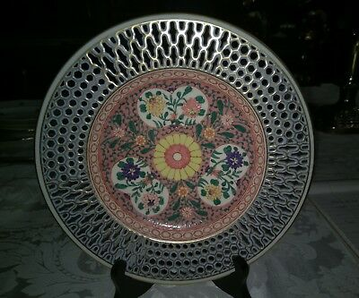 """Herend Rare Hand Reticulated and Painted 8.5"""" wall plate heavy enamels. ERS"""