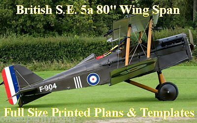 """S.E. 5a Biplane 80"""" WS 1/4 Scale RC Airplane Full Size PRINTED Plans & Templates"""