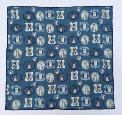 Cheshire Cat Print Pocket Square Hand Rolled Edge Blue 100% Fine Cotton